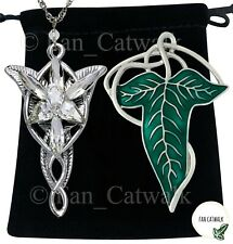 SILVER VEIN Elven Leaf Brooch Arwen Evenstar Necklace SET LOTR Lord of The Rings