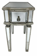 Venetian Mirrored Bedside Table 1 Draw Glass Cabinet Nightstand Bedroom Storage