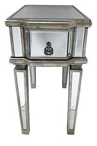 Venetian Mirrored Bedside Table 1 Draw Glass Cabinet Nightstand Bedroom Storage