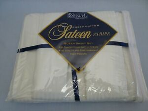 NIP Shavel 100% Combed Cotton QUEEN Deep Pockets Sheet SET Sateen Stripe WHITE