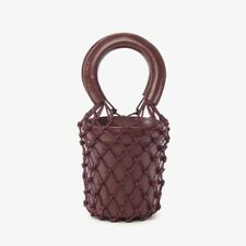 STAUD Mini Moreau Leather and Macramé Bucket Bag in Bordeaux New With Tags