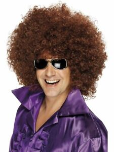 Adult Unisex Afro Wig Brown Hair Halloween Costume Tight Fro 60s 70s Womens Mens