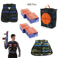 400x Bullets Darts+2 Vest Jacket+Storage Target Bag Kit fr NERF N-Strike Gun Toy