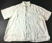 Tommy Bahama Relax Mens White Short Sleeve Button Front Linen Shirt Size 1XB