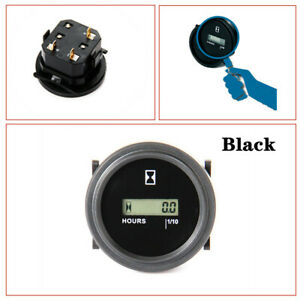 "12V 24V 36V LCD Digital Hour Meter Car Marine Boat Engine 2"" Round Plastic Gauge"