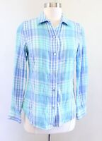 Vineyard Vines Blue Turquoise Villa Plaid Button Down Shirt Blouse Size 0