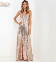 Women V-neck Sequins Long Gown Bling Bridal Formal Glitter Party Maxi Dress Slim