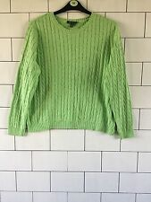 WOMEN'S 90'S URBAN VINTAGE RETRO GREEN RALPH LAUREN CHUNKY KNIT JUMPER UK 16