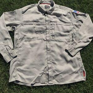 Bulwark FR IQ Series Tan Button Front Long Sleeve Work Shirt 2XL Patches
