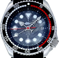 """SEIKO 7002 Diver GMT Mod w/Chrome """"Fishbone"""" Hands on Black Mother of Pearl Dial"""
