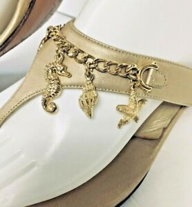 St John Sandals Gold leather heeled size 10 B Sea Shells Charms Heel 2.5 Italy.