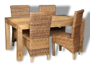 DAKOTA LIGHT MANGO 160CM DINING TABLE AND 4 RATTAN CHAIRS (30L&4BL)