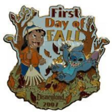 Disney Pin 56678 First Day of Fall Lilo & Stitch Slider Jumping into Leaves LE