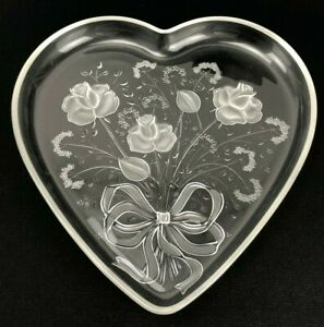 """Heart Shape Embossed Etched Large Clear Cut Glass Serving Platter 12-1/2"""" x 13"""""""