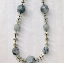 Vtg French Chunky MOD NECKLACE Blue Marbled Plastic Disc Bead CHROME Spacers 32""