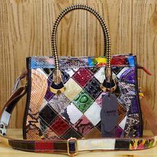 Women's Genuine Leather Snake Blocks Colorful Handbag Shoulder Satchel Tote Bag