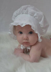 EASTER Bonnet Sunhat  White Eyelet Lace sz nb,3,6,9,12,18 mo shower baby gift