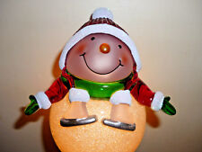 "Snowman with Skates Night Light  6+"" Tall  FREE Ship  Rotating Plug  NEW in Box"