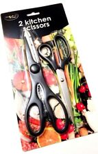 2 Pcs Scissors  Grip Hand Stainless Steel Office Kitchen Craft Scissor-ROYAL