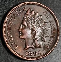 1890 INDIAN HEAD CENT -With LIBERTY & 4 DIAMONDS - AU UNC Details