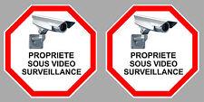 2 X PROPRIETE VIDEO SURVEILLANCE CAMERA PROTECTION 9cm AUTOCOLLANT STICKER VA095