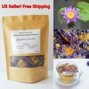 Whole Blue Lotus Dried Flowers Herbal Tea Nymphaea Caerulea Egyptian Organic 28g