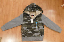 NWT Boys The Children's Place Gray Camo Sherpa Lined Hoodie Jacket Size S 5/6