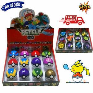 12Pcs Child Gifts Pokemon Pikachu Ball Set Pokeball Figures Kids Toys AU