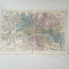 c1889 Glasgow British Isles Map Bacon Antique Vgc