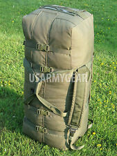 US Army Military Deployment Duffle Flight Sea Bag Back Pack OD USGI w. Flag VGC