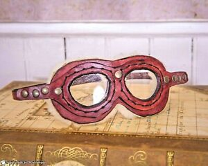MAHOGANY GOGGLES Steampunk Aviator Pilot Biker Genuine Leather Handmade Glasses