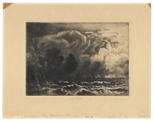 Rare Early Florida Etching by Charles Mielatz - The Squall, Lake Okeechobee 1915