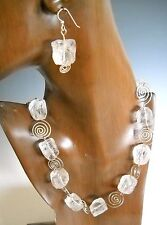 Square Crystal ICE Beads With Sterling Swirl Necklace and Earrings KHN1607 NWT