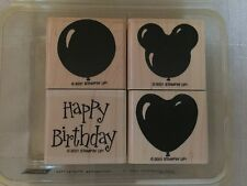 Stampin Up Happy Birthday Balloons Set Of  4 Rubber Stamps