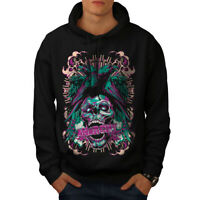 Wellcoda Revenge Crow Death Skull Mens Hoodie, Rave Casual Hooded Sweatshirt
