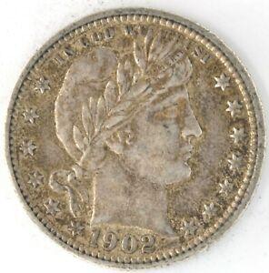 1902 Barber Quarter Dollar 90% Silver 25 Cent US Coin Philadelphia Full Bands
