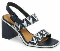 Tory Burch Delaney Women's Leather Heel Slingback Sandals Navy Blue White Size 9