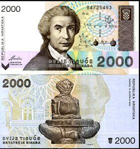 CROATIA 2000 DINARS 1992 P 23 UNC