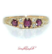 Liebesring / antiker Verlobungsring 750 Gold Diamantring mit Rubinen Jugendstil