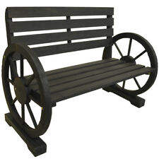 Cartwheel Bench Wheel Armrest Burntwood Tree Outdoor Wood Decor ZLY-95503