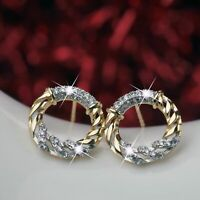 18k yellow white gold GF made with Swarovski Crystal stud earrings round circle