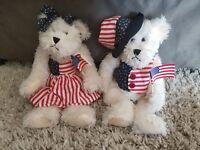"Cute American Plush Teddy Bear Pair Patriotic US Flag White 13"" Sitting Boy Girl"