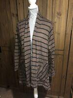 Adini Ladies Size 16 18 L/L1 Brown Black Crinkle Material Cardigan Jacket