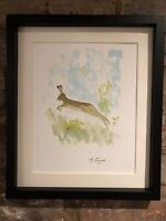 Leaping Spring Hare Watercolour, Signed Original Art, Vintage, Cottage, Gallery