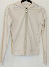 TWISTED HEART America Women's Size Small Beige Long Sleeve Hoodie Ribbon Sequins