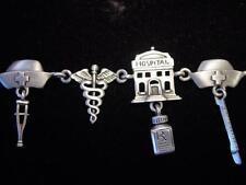 """JJ"" Jonette Jewelry Silver Pewter NURSE Symbols 7 1/4"" Bracelet"