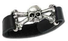 A51 Alchemy Gothic Of England BLACK LEATHER + PEWTER SKULL AND CROSS BONES STRAP