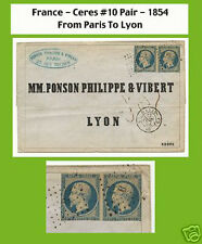 "France cover 1854 Paris to Lyon - Pair se-tenant ""President"""