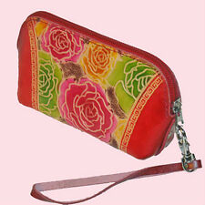 Leather Wristlet Change/Coin Purse,Colorful Flower -- 1