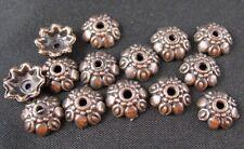 200 Pcs Antiqued copper lotus eyed bead caps FC370